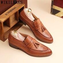 Мужские офисные туфли; кожаные нарядные туфли для мужчин; классические Брендовые мужские итальянские ботинки; элегантные коричневые модельные туфли; sepatu; слипоны pria bona