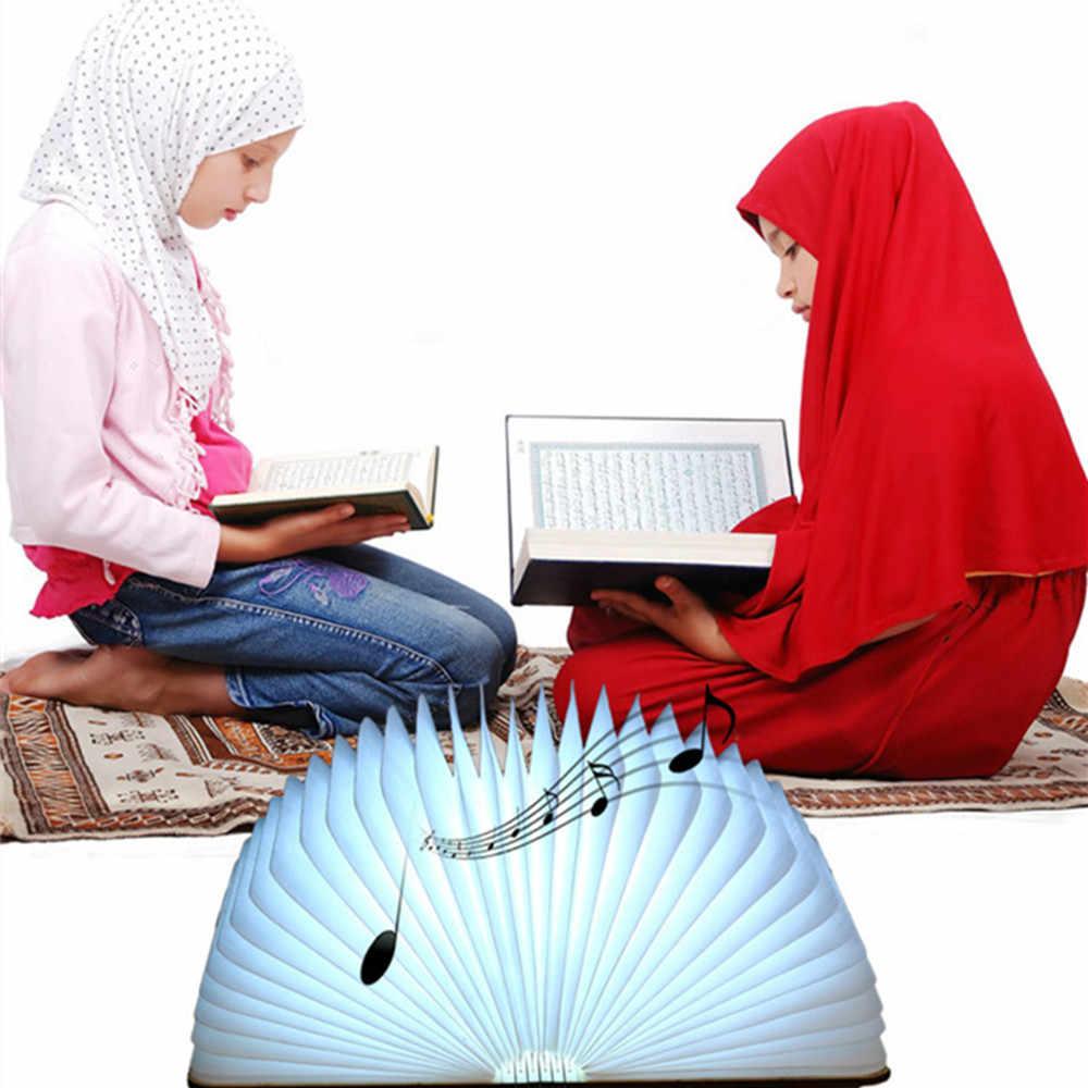 Коран музыкальная книга лампа Беспроводной Динамик дистанционного Управление зарядка через USB Красочный светодиодный ночной Светильник Мусульманский Коран FM радио TF MP3 плеер