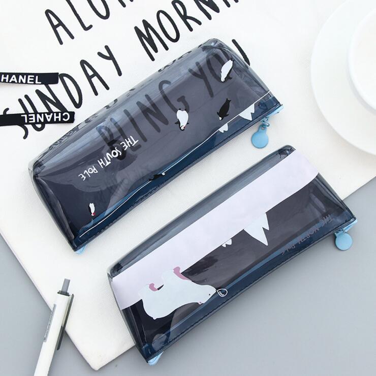 Ellen Brook 1 Piece New Cute Kawaii Animals Translucent Pen Pencil Bag Case Pocket Pounch School Office Supplies Stationary