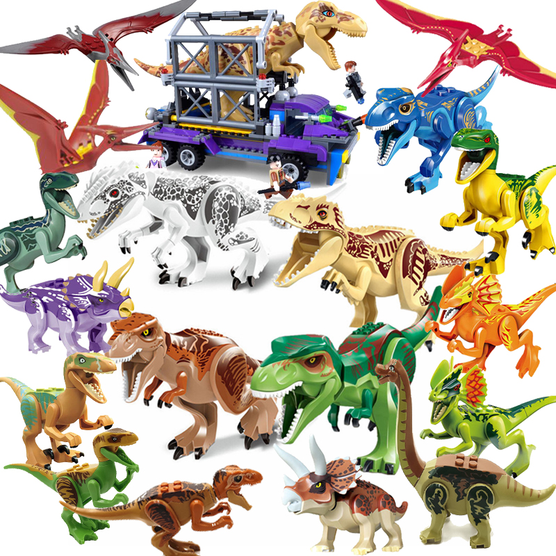 Jurassic World 2 Dinosaurs Building Blocks Tyrannosaurus Rex Legoings Dinosaur Figures Bricks Toys Model Birthday Gift cool big dinosaur model toys vivid animal pvc figures tyrannosaurus rex triceratops allosaurus strong powerful animals boys gift