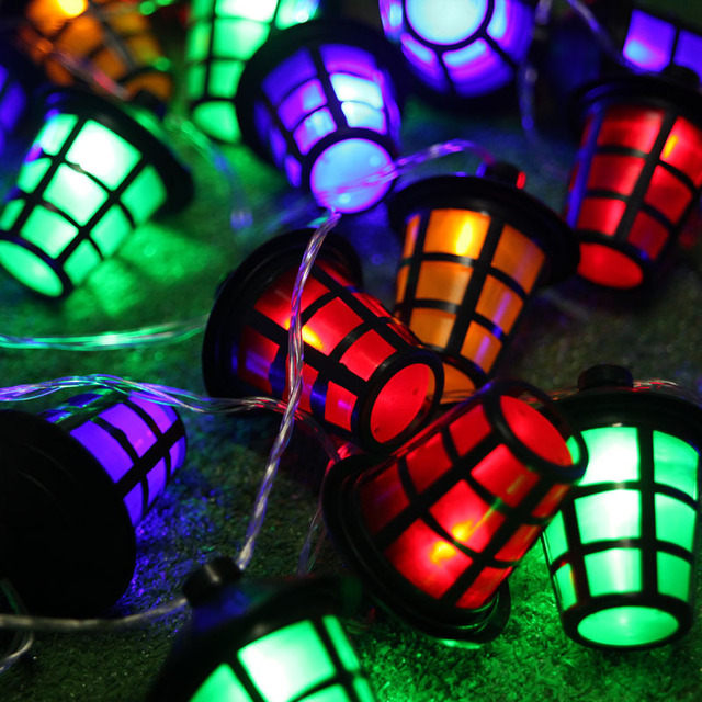 New Year Lantern LED String Light Fairy Garland With 38pcs Colorful  Lanterns Outdoor Decorations String For