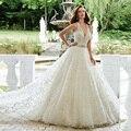 Alice Blanco Hermoso Una Línea Escarpada Del Cordón Del V-neckline Del Organza Vestido con Cinturón vestido De Noiva Apliques Cristales B2710