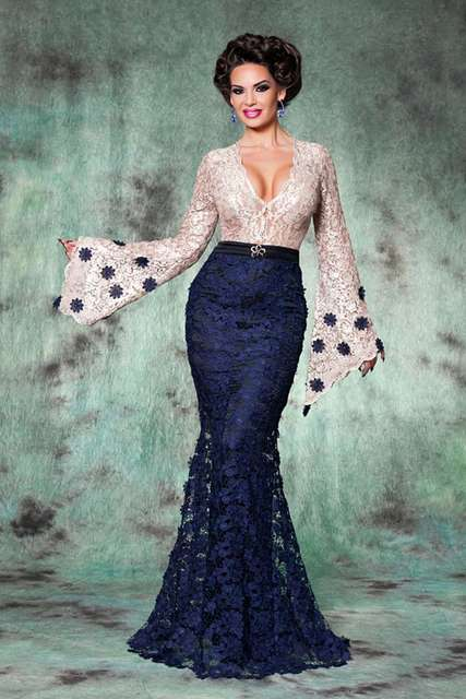 Us 186 0 Long Sleeve Champagne Lace Navy Blue Mermaid Evening Dress Long Arabic Moroccan Dubai Kaftan Backless Bell Sleeve Prom Gown 2017 In Evening