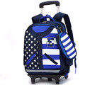 2016 Kids Trolley Schoolbag Removable Girls Wheeled Backpack Boy Case grain uniform School Bag  Children waterproof Bags Mochila