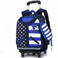 2016 Kids Trolley Schoolbag Removable Girls Wheeled Backpack Boy Baseball Uniform School Bag Children Waterproof Bags