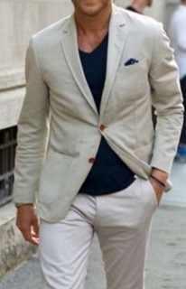 最新コートパンツデザインベージュリネン男性のカジュアルスーツ夏カスタムスリムフィットビーチスタイル2ピースブレザー(ジャケット+パンツ) 227