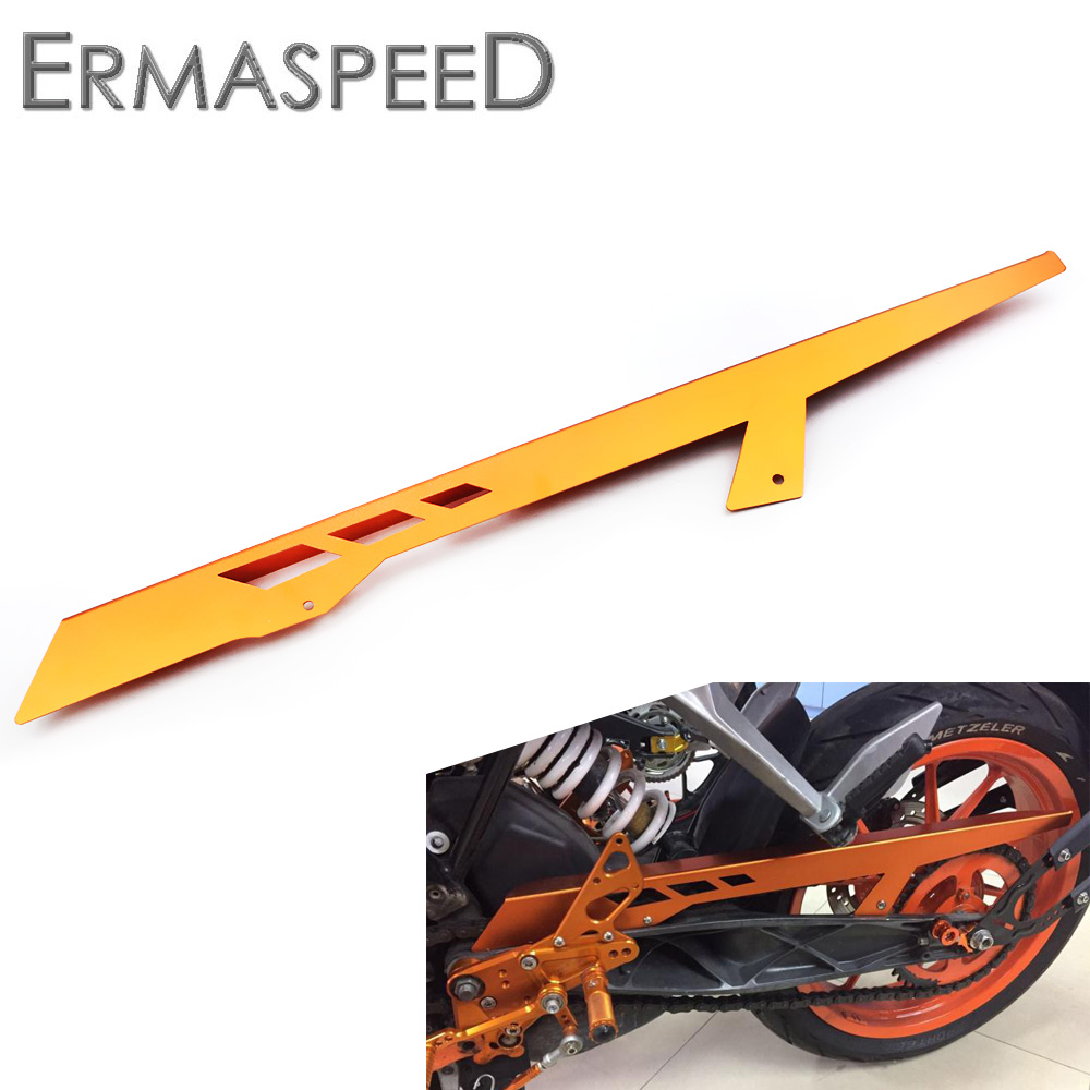 CNC Aluminum Motorcycle Accessories Chain Guard Cover Protector Orange for KTM DUKE 125 200 ALL YEAR 390 2013 2014 2015 free shipping aluminium wave motorcycle accessories front brake disc rotor disk for ktm 125 200 390 duke 2013 2014