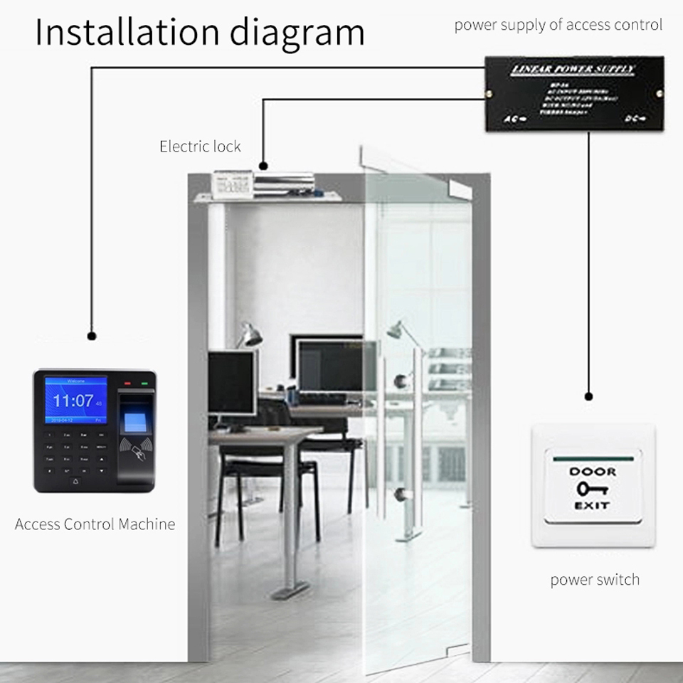 Image 3 - BX6 BX10 Biometric Fingerprint Access Control Intercom Machine Digital Electric RFID Code System For Door Lock Keys Tags-in Fingerprint Recognition Device from Security & Protection