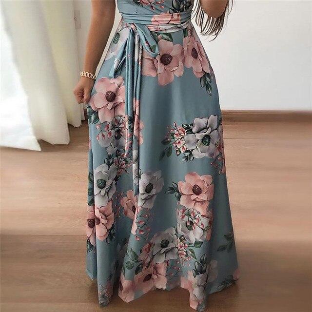 Women Long Maxi Dress 2019 Summer Floral Print Boho Style Beach Dress Casual Short Sleeve Bandage