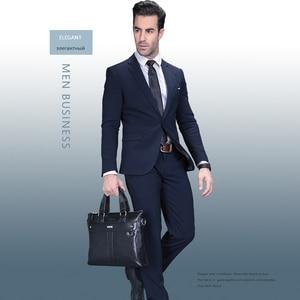 Image 3 - Vormor bolsas masculinas de couro, pasta executiva de ombro para computador e laptop 2020