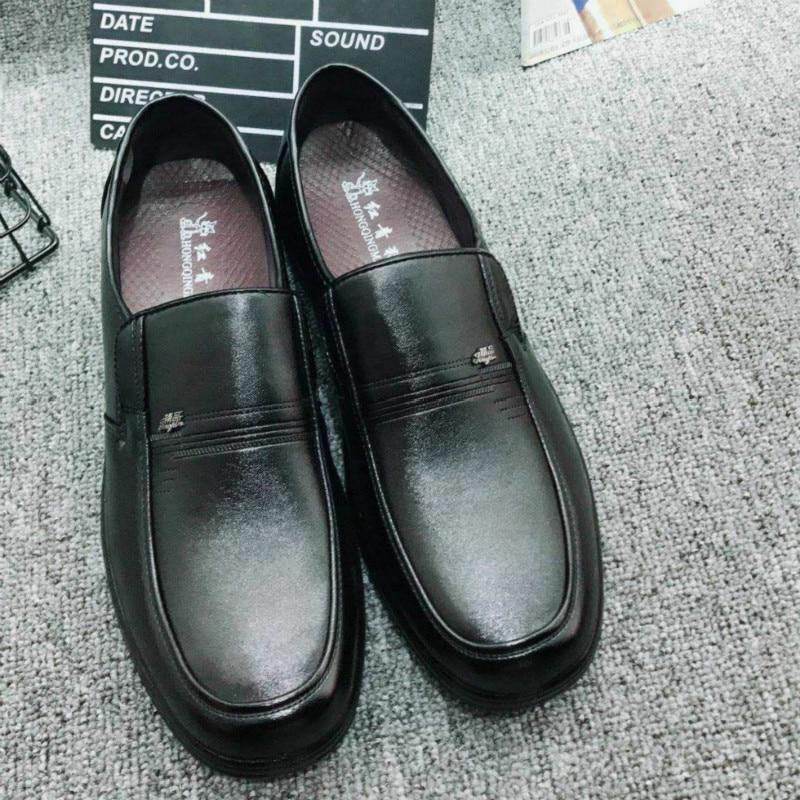 Confortable Hombre Noir Taille Occasionnels Véritable Âge D'affaires Moyen Chaussures Cuir Mocassins Vieux Grande Hommes Nouveau De Et En Formelle Rdq0RT