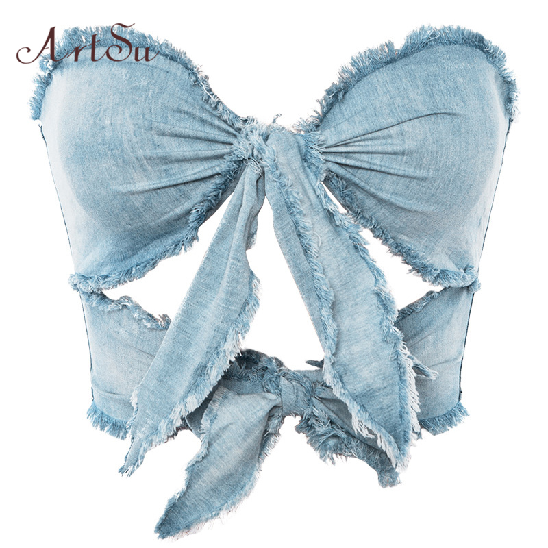 ArtSu Vintage Blue Denim Lace Up Crop   Top   Sexy   Tops   for Women Clubwear Off Shoulder Strapless Tassels   Tank     Top   Cami ASVE20301