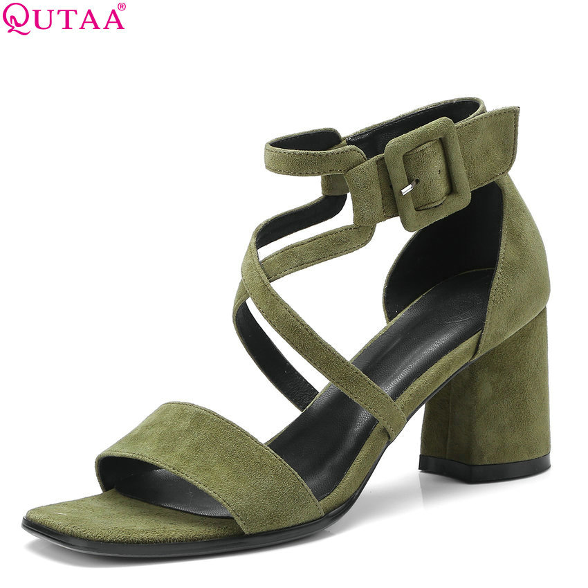 QUTAA 2018 Women Sandals Kid Suede All Match Summer Women Shoes Platform Casual Square High Heel Women Sandals Size 34-42 цена