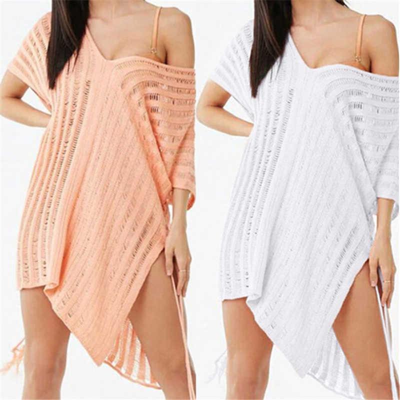 2020 casual batwing manga verão vestido de praia crochê túnica mulher beachwear sexy com decote em v lado split malha mini pareo vestido n778