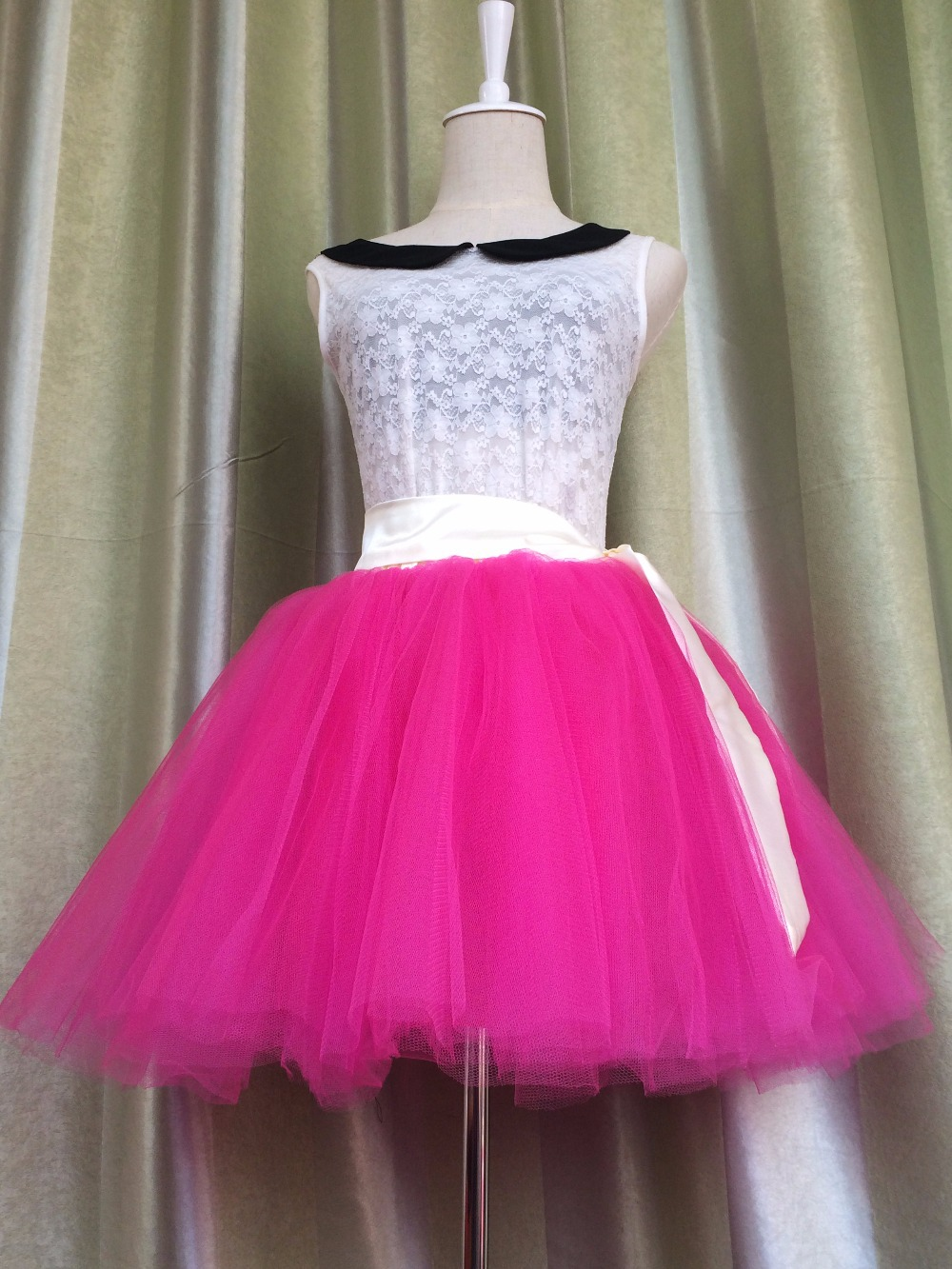 Aliexpress Buy Fluffy Tutu Skirt Girl Adult Or Teen Hot Pink With Yellow Belt Mini Tulle For Party Stage Ballet High Waist Pleat From