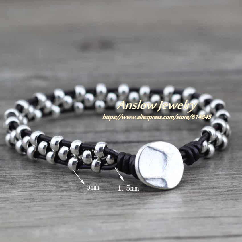 Anslow New Arrival Items Healthy Zinc Alloy Beads Women Men Girls Leather Bracelet Bijoux Charm Jewelry Accessories LOW0383LB 3