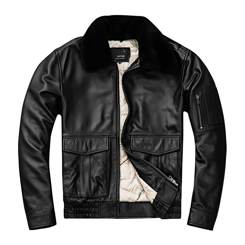 HARLEY DAMSON สีดำผู้ชาย UASF Pilot หนังเสื้อ Plus ขนาด 5XL ของแท้ขนสัตว์หนา Cowhide ฤดูหนาว Aviator หนัง-ใน เสื้อโค้ทหนังแท้ จาก เสื้อผ้าผู้ชาย บน   1