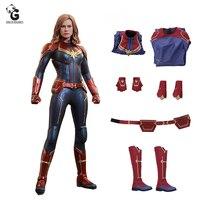 Марвел Капитан костюм PU Endgame Косплей Женский квантовый костюм Carol Danvers костюмы на Хэллоуин для женщин disfraz Mujer