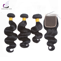 SHENLONGHAIR Hot Mix Body Wave Brazilian Hair 3 Bundles With Closure 100 Human Hair Natural Color