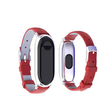 2019 new for Mi band3 bracelet metal body leather strap replacement wristband xiaomi smart 3