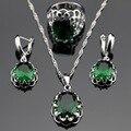 Made in China Cor Prata Conjuntos de Jóias Rodada Criado Verde Esmeralda Brincos/Pingente/Colar/Anéis Para As Mulheres Caixa de Presente livre