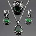Made in China Silver Color Jewelry Sets Round Green Created Emerald Earrings/Pendant/Necklace/Rings For Women Free Gift Box