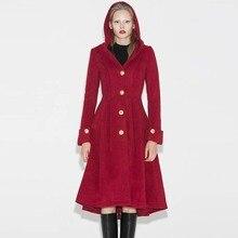 Зимнее винтажное готическое повседневное женское пальто с капюшоном на пуговицах синего цвета размера плюс