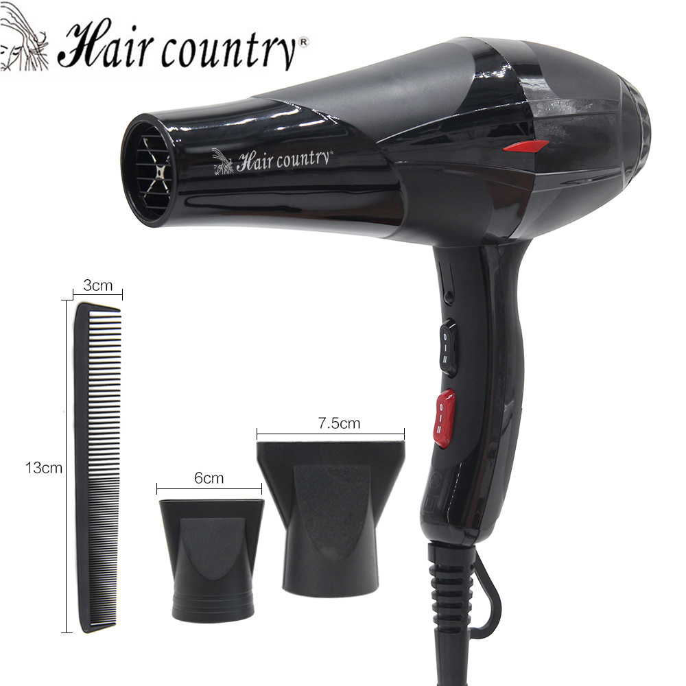 Hair Country Professional Powerful Hair Dryer Compact 2000W Hot/cold Air 4 Gears Salon Hair Dryer with 2 Nozzles remington d1500 travel dryer compact 2000 фен