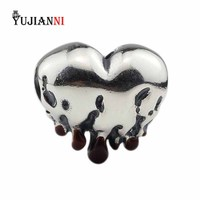 Melting Heart Beads 925 Sterling Silver Charms DIY Jewelry Making Pendant Fit Original Troll OHM Bracelet & Necklace