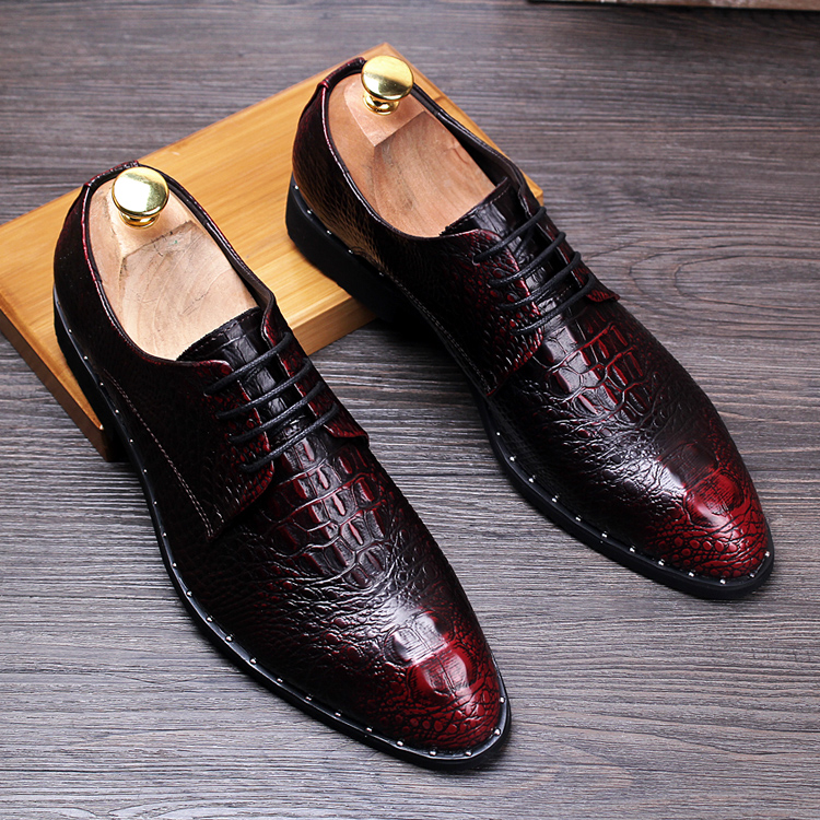 Crocodile grain black /red summer chaussures derby hommes oxford loafer shoes for mens dress shoes man wedding shoes with lace