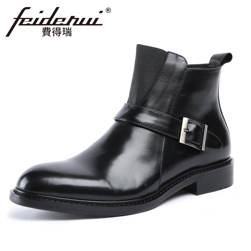 2018 Fashion Genuine Leather Mens Platform Ankle Boots Round Toe Monk Strap Handmade Cowboy Riding Man High-Top Shoes YMX6272018 Fashion Genuine Leather Mens Platform Ankle Boots Round Toe Monk Strap Handmade Cowboy Riding Man High-Top Shoes YMX627
