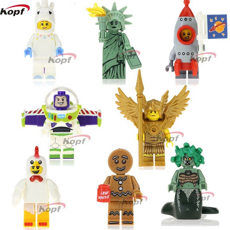 10Set PG8061 Super Heroes Gingerbread Man Medusa Rocket Boy Unicorn Girl Inhumans Royal Family Building Blocks Toys for children