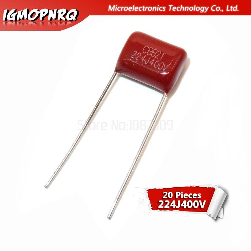 1000pcs 224J 0.22uF CBB 400V Metallized Film Capacitor P=10MM