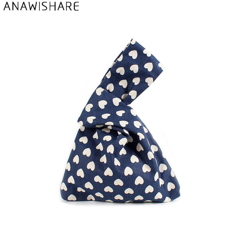 Praktisch Anawishare Frauen Tageskupplungen Leinwand Druck Frauen Handtaschen Kleine Geldbörse Casual Damen Handtaschen Kupplungen