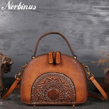 Norbinus Genuine Leather Messenger Shoulder Bags Women Embossed Luxury Tote Bag Cowhide Ladies Crossbody Bags Vintage Handbags