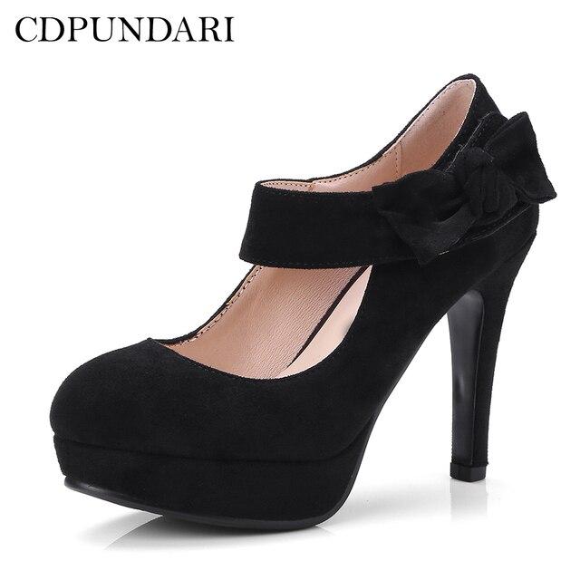 fd360269e19e CDPUNDARI Mary Janes Round Toe Sexy platform high heels women Pumps Wedding  shoes woman