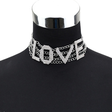 Letter Rhinestone Choker Necklace Women SEXY Maxi Statement Necklaces LOVE Neck jewellery