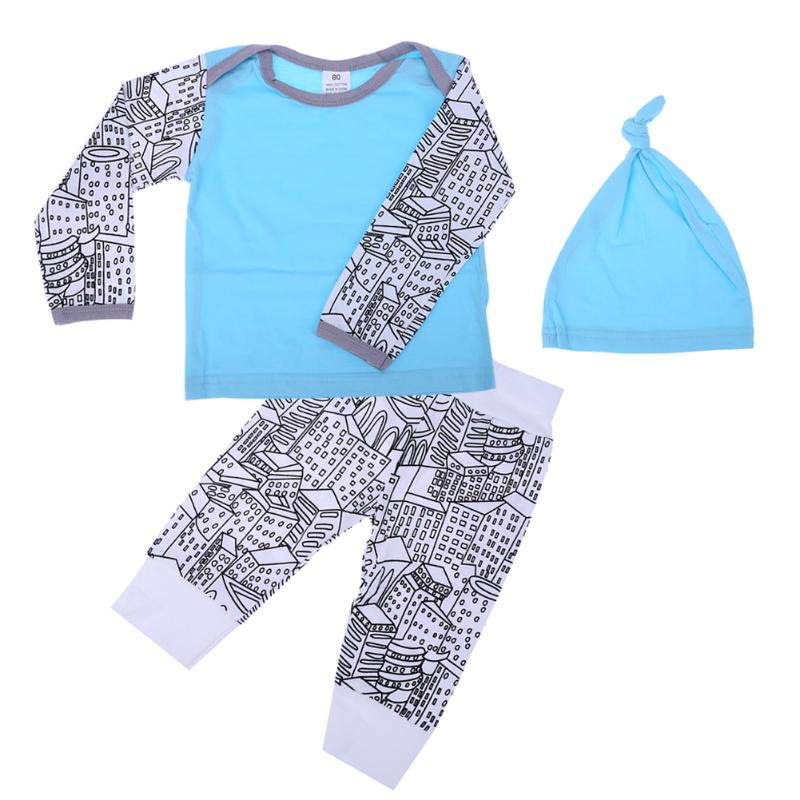 Newborn Baby Clothes Set Unisex Tops T-shirt+Pants Hat 3pcs Winter Warm Outfit Cotton Baby Clothes Set for Todder Body Suit