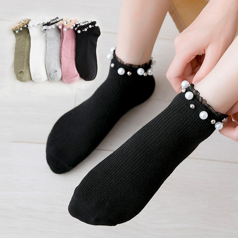 Women Fashion Socks 2019 Autumn New Lace Pearl Solid Color Breathable Ankle Socks Cotton Fashion Cute Socks Woman