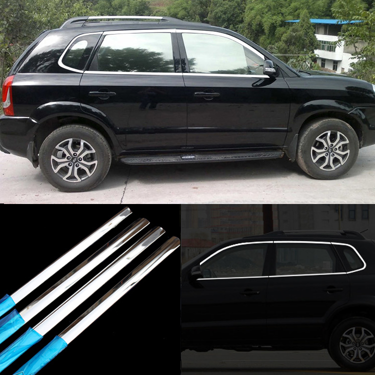 10pcs Stainless Steel Door Window Frame Sill Molding Trim For Hyundai Tucson 2009-2014 stainless steel upper window frame sill trim 8pcs for fusion mondeo 2013 2014