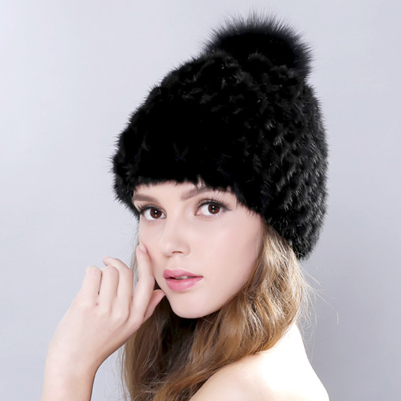 цена New Lovely Real Mink Fur Hat For Women Winter Knitted Mink Fur Beanies Cap With Fox Fur Pom Poms Brand New Thick Female Cap