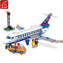 AUSINI модель самолета блоки игрушки для детей пассажирский самолет аэропорт автомобиль Legoings Строительство города Строительные кирпичи