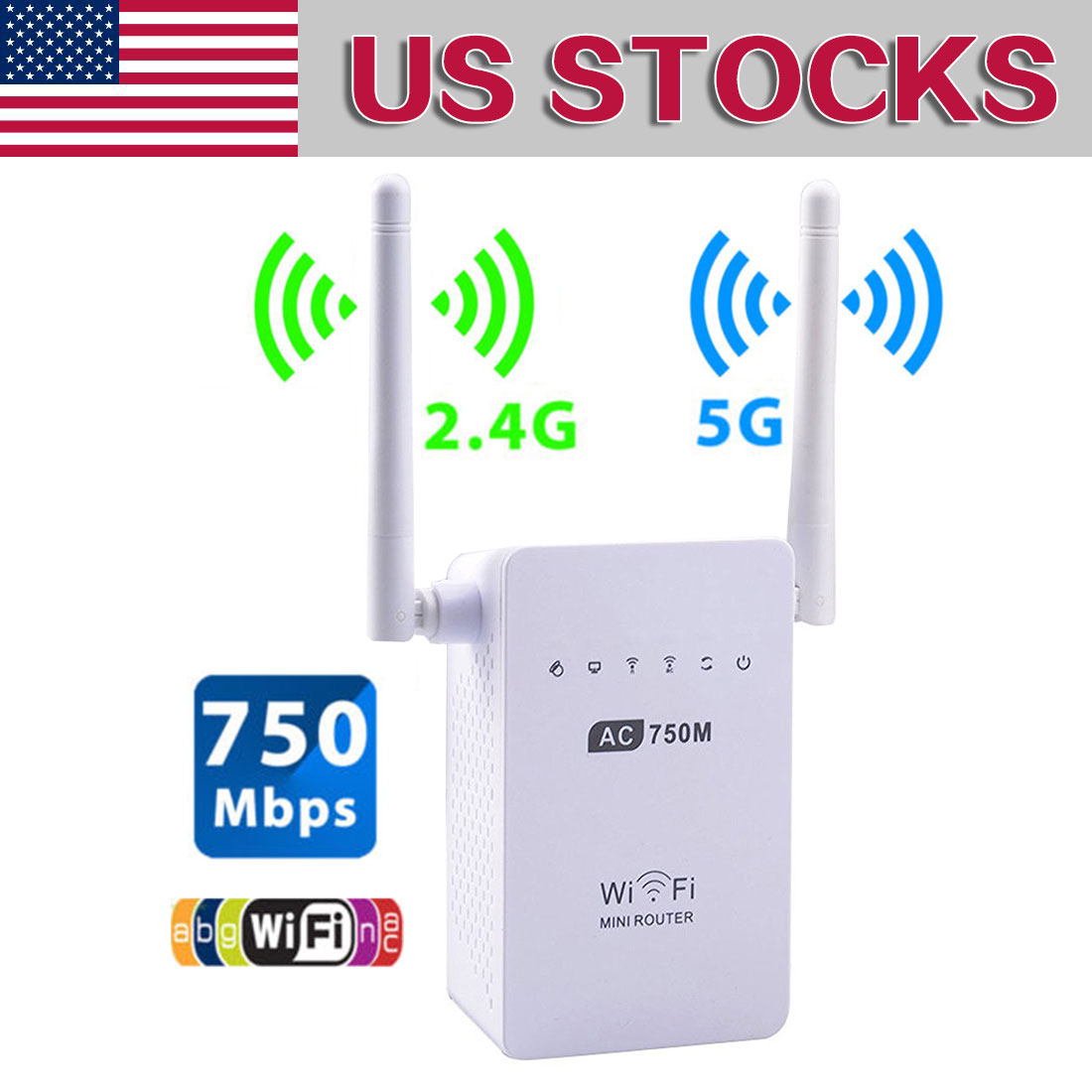 802.11b/g/n/ac Wireless Wifi Repeater 750 Mbps Mini Repetidor Wifi Signal Amplifier 2.4G+5.8G Wifi Extender 2*5dBi Antenna EU/US
