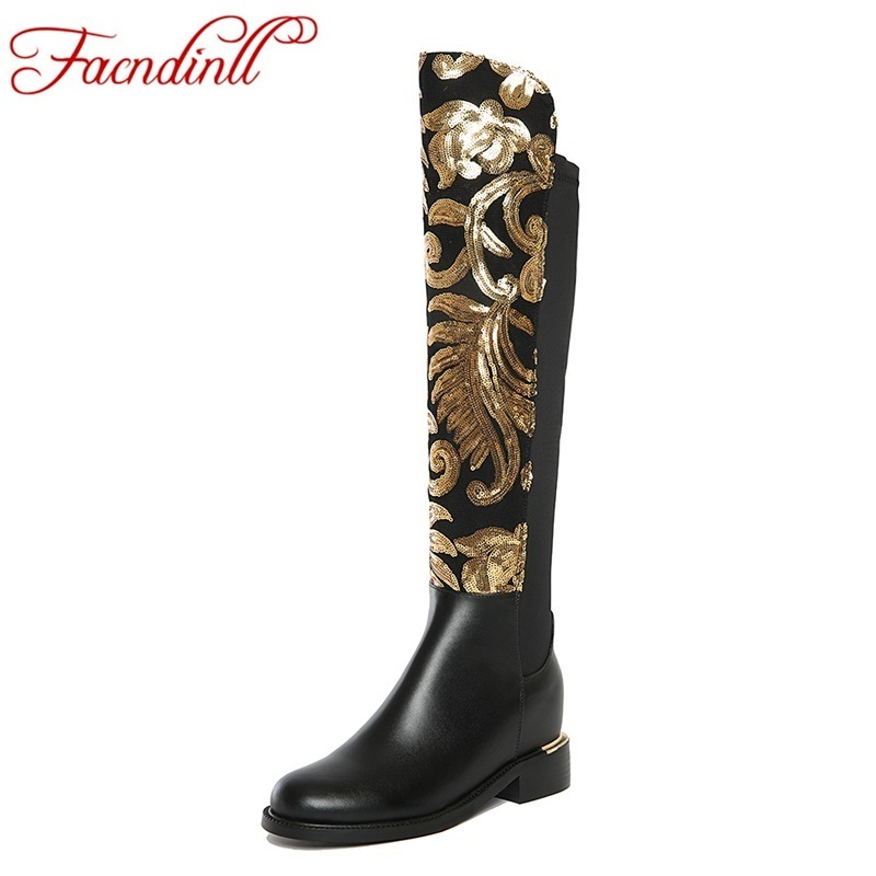 FACNDINLL 2017 new genuine leather boots square heel winter warm shoes woman knee high boots fashion ladies platform black shoes winter warm square high heel side zipper knee high boots fashion round toe shoes woman brown white black