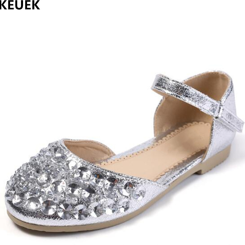 edb44053d43d4 New Summer Princess Shoes Girls Rhinestone Flat Heels Student PU Leather  Dance Party Shoes Children Baby Kids Crystal Shoes 02