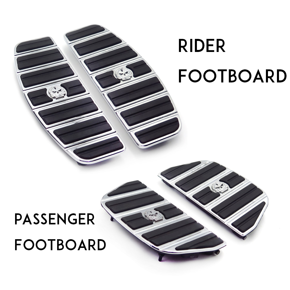 Motorcycle Skull Zombie Passenger Footboard  Rider Footboard Insert Kit Traditional Shape  For 87-15 TOURING 86-15 SOFTAIL