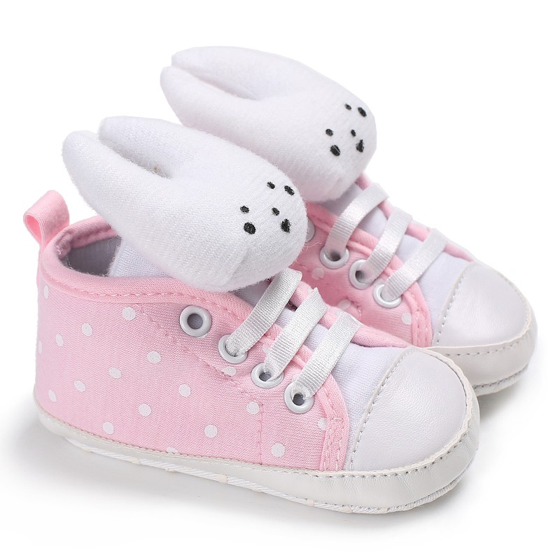 Cute Rabbit Baby Girls Shoes Kids Cartoon Dot Lace-up Children First Walkers Pink Gray