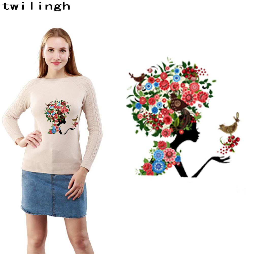 hot sale 3d printed transfer patches for t-shirt cloth jacket custom design character woman style lovely sticker iron on patch