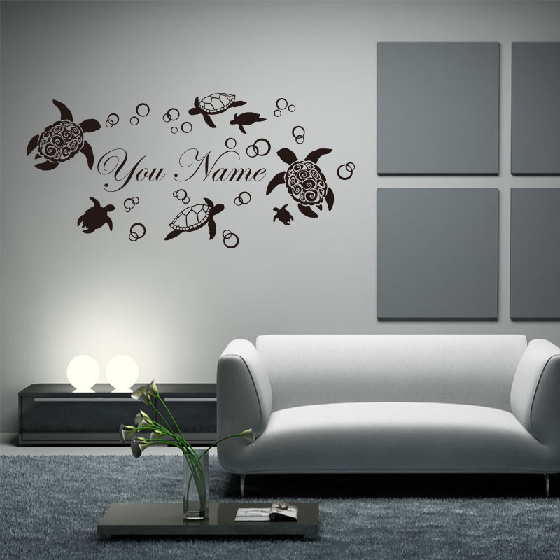 9762 customized personalized name vinyl sea turtle wall sticker removable house decor animal. Black Bedroom Furniture Sets. Home Design Ideas