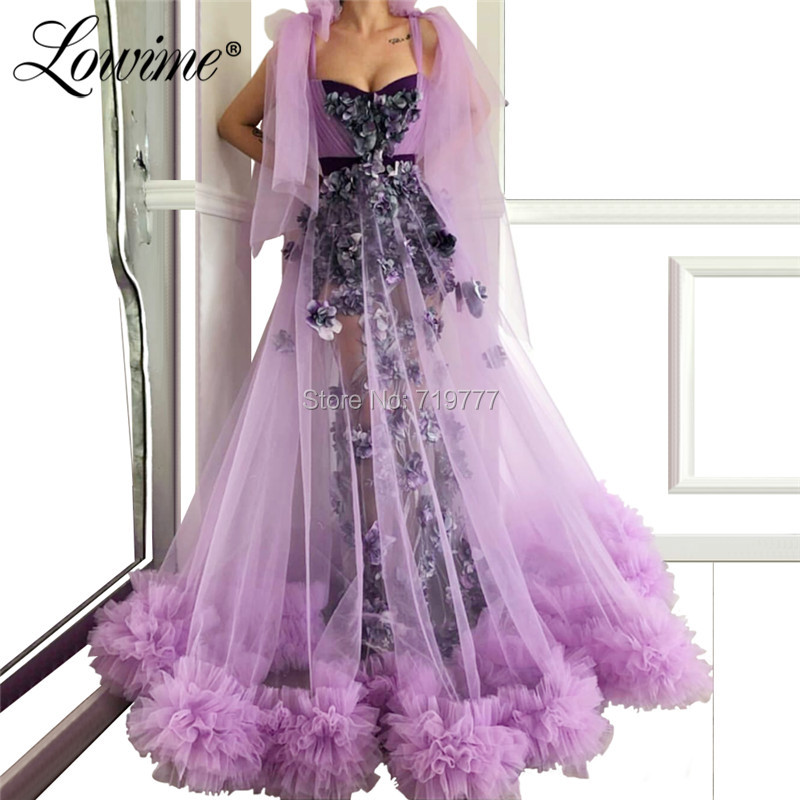 Dubai Illusion Purple Pageant Party   Dress   2019 Custom Made Flower   Evening     Dresses   Vestido De Festa Prom   Dress   Arabic Formal Gown